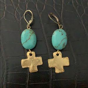 Gold cross stone earrings